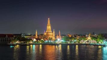 Tailândia Sunset Night River Bay Wat Arun Temple 4k Time Lapse Banguecoque
