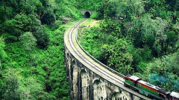 treno che attraversa il ponte dei nove archi nello sri lanka.
