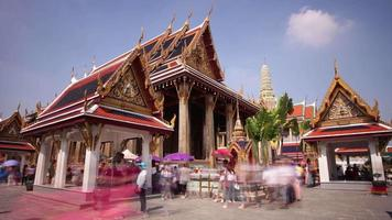 thailand sunny bangkok wat phra kaew temple tourist crowded square panorama 4k time lapse video