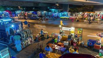 thailand night light traffic road bangkok street market 4k time lapse