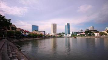 Singapur día luz ciudad centro turístico bahía panorama 4k lapso de tiempo