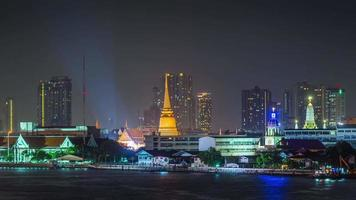 thailand night illumination bangkok river bay temple panorama 4k time lapse