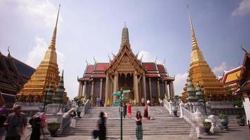 Tailandia Bangkok ciudad famosa pagoda principal templo wat phra kaew 4k lapso de tiempo