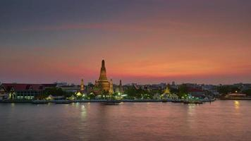 thailand magic sunset bangkok river bay wat arun temple panorama 4k time lapse