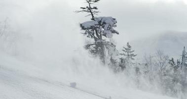 sciatore che passa nella neve fresca