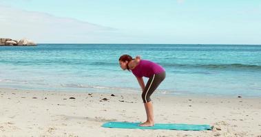 femme, yoga, plage