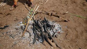 Mujer manteniendo el fuego abierto ardiendo y cocinando pescado sobre él