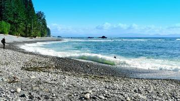 Mujer excursionista y surfista disfrutar de la playa de la costa noroeste del Pacífico