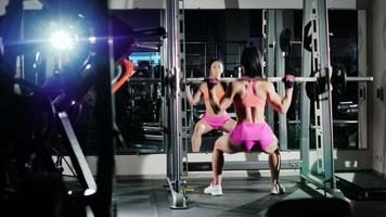 Athletic woman squats with a barbell. Motivation in sport. Back view video