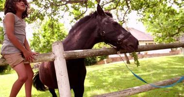 Niño hispano alimentando a un caballo con una zanahoria y acariciándolo