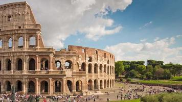 italy summer day famous rome colosseum tourist crowded panorama 4k time lapse video