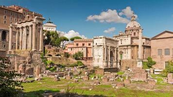 Italië zomerdag romeinse forum zonnige panorama 4 k tijd vervallen rome video
