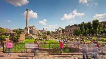 Italië rome stad zomer dag beroemde toeristische Romeinse forum binnen panorama 4 k time-lapse video