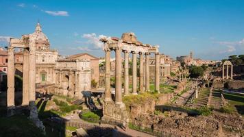 Italia Roma città più famoso punto di vista soleggiato panorama del foro romano 4K lasso di tempo