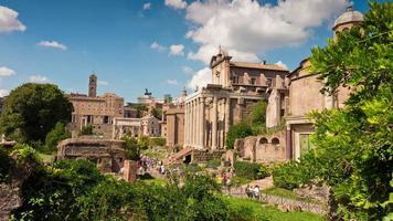 italia summer day roma città famoso foro romano panorama 4k lasso di tempo