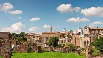 Italia giornata di sole Roma città famoso foro romano panorama 4K lasso di tempo