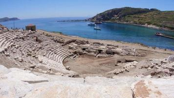 Knidos amphitheater and majestic sea, Datca, Turkey video