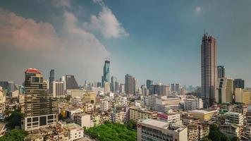 Thailandia Bangkok giorno paesaggio urbano centro tetto panorama superiore 4K lasso di tempo