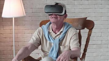 Gesturing Old Man in VR Headset
