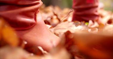 Femme marchant à travers les feuilles d'automne sur le sol