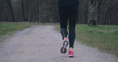 donna sportiva fare jogging lungo una strada rurale video