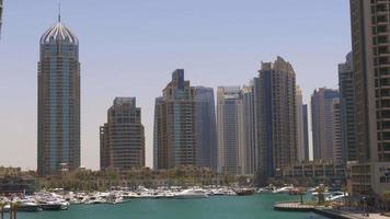 panorama del golfo di giornata di sole di dubai marina 4k emirati arabi uniti