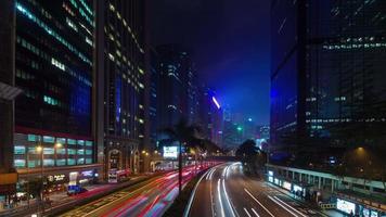 rue de trafic léger de nuit 4k time-lapse de la ville de hong kong