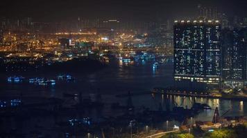 luce notturna lato porto 4k lasso di tempo da hong kong cina
