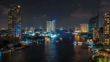 Tailândia, noite, bangkok, rio, construção, baía, 4k, time lapse