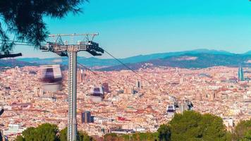 Barcelona Stadt Sonnenlicht Montjuic Park Lift Panorama 4k Zeitraffer Spanien