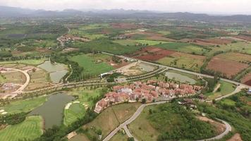 Aerial view of toscan style house valley, khao yai, Thailand