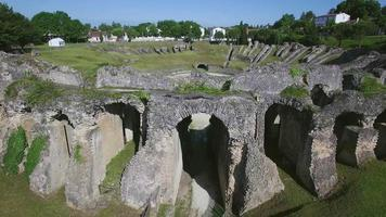 France, Charente-Maritime, Saintes City, Aerial view of the Amphitheatre video