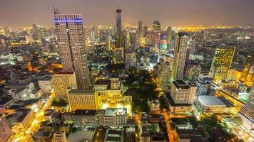 thailand night illumination bangkok famous hotel roof top panorama 4k time lapse