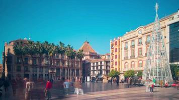 Spagna giornata di sole malaga piazza principale 4K lasso di tempo