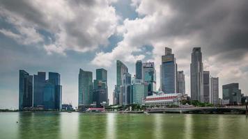 Lapso de tiempo de la bahía panorámica de la luz del día de la ciudad de Singapur 4k