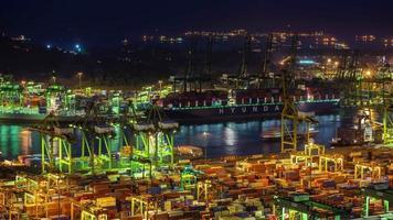 luz de noche puerto de singapur trabajando duro 4k lapso de tiempo