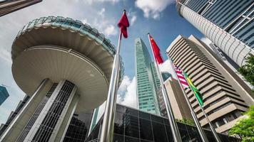 vista sobre el famoso centro de la ciudad de singapure 4k lapso de tiempo