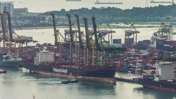 Singapur famoso puerto de trabajo 4k lapso de tiempo