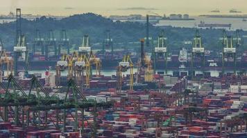día de trabajo luz puerto de Singapur 4k lapso de tiempo