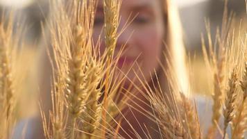Hermosa mujer rubia sonriendo en un campo de trigo