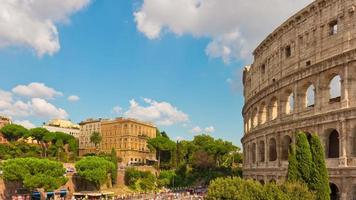 italy rome city summer day famous colosseum crowded square panorama 4k time lapse video
