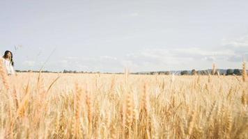 hermosa mujer negra caminando por un campo de trigo
