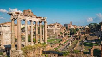Italië rome stad zomer dag Forum Romanum tempel van Saturnus panorama 4 k time-lapse video