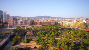 Park de Joan Miro Sonnenlicht Barcelona Dachansicht 4k Zeitraffer Spanien