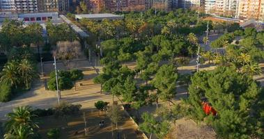 barcelona sunny day roof top view on joan miro park 4k spain