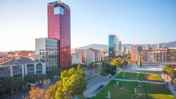 Sonnenuntergang Licht Joan Miro Park Wohnblock 4k Zeitraffer Spanien Barcelona