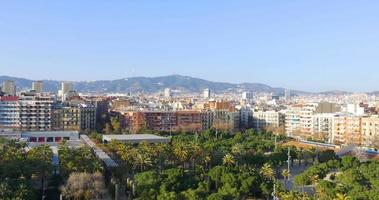 barcelona sun light shopping center panorama da cidade 4k espanha