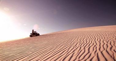 competitieve quad-fietser die zand omhoogschopt terwijl hij door het duin reist video