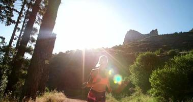 pareggiatore su un sentiero sterrato su un sentiero naturalistico di montagna video