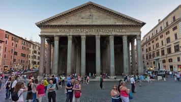 itália verão crepúsculo roma cidade famosa panorama frontal do panteão 4k time lapse